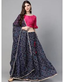 Bhama Couture Navy Blue & Pink Bandhani Print Ready to Wear Lehenga with Blouse & Dupatta