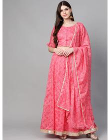 Bhama Couture Pink & White Bandhani Printed Ready to Wear Lehenga & Blouse with Dupatta