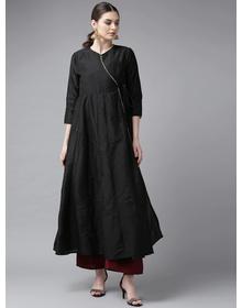 Bhama Couture Women Black Solid Angrakha Anarkali Kurta