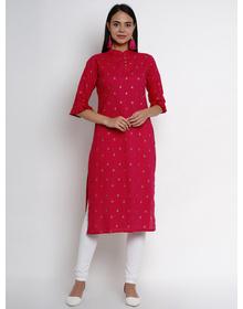 Bhama Couture Women Fuchsia Printed Straight Kurta