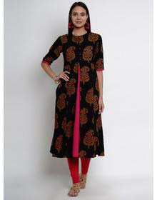 Bhama Couture Women Black & Pink Printed A-Line Layered Kurta