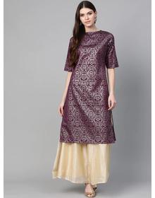 Bhama Couture Women Purple & Golden Block print Straight Kurta