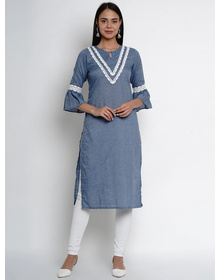 Bhama Couture Women Blue Yoke Design Straight Kurta
