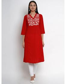 Bhama Couture Women Red & White Yoke Design Straight Kurta
