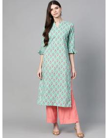 Bhama Couture Women Sea Green & Pink Printed Straight Kurta