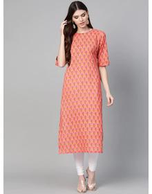 Bhama Couture Women Pink & Green Floral Print Straight Kurta