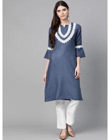 Bhama Couture Women Navy Blue Yoke Design Straight Kurta