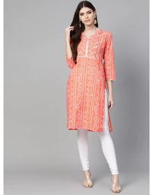 Bhama Couture Women Orange & White Printed Straight Kurta