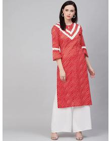 Bhama Couture Women Red & White Yoke Design Straight Bandhani Kurta