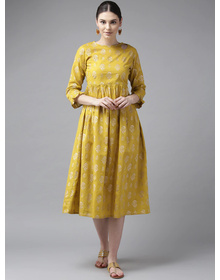 Bhama Couture Women Mustard Yellow & Golden Printed A-Line Dress