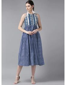 Bhama Couture Women Blue & White Printed Empire Dress
