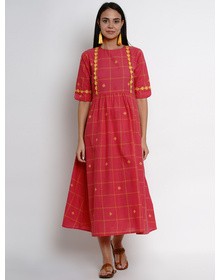 Bhama Couture Women Reddish Pink Checked Fit and Flare Dress