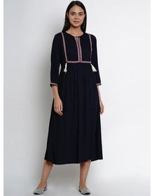 Bhama Couture Women Navy Blue Solid A-Line Dress