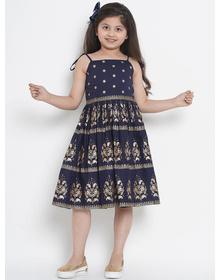 Bitiya by Bhama Girls Navy Blue Printed Fit and Flare Dress