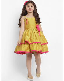 Bitiya by Bhama Girls Mustard Yellow Self Design Fit and Flare Dress