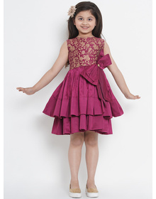Bitiya by Bhama Girls Burgundy Printed Fit and Flare Dress