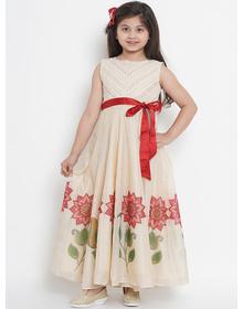 Bitiya by Bhama Girls Beige Printed Maxi Dress