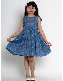 Bitiya by Bhama Girls Blue Printed Fit and Flare Dress