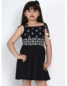 Bitiya by Bhama Girls Black Embroidered Fit and Flare Dress
