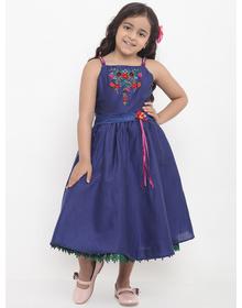 Bitiya by Bhama Girls Blue Embellished Fit and Flare Dress