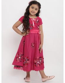 Bitiya by Bhama Girls Pink Embellished Fit and Flare Dress