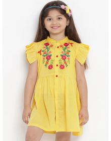 Bitiya by Bhama Girls Yellow Solid Shirt Dress