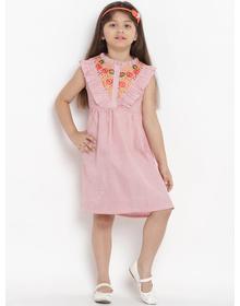 Bitiya by Bhama Girls Pink Striped A-Line Dress
