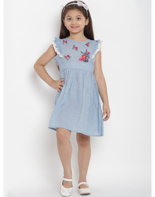 Bitiya by Bhama Girls Blue Solid Chambray Fit and Flare Dress