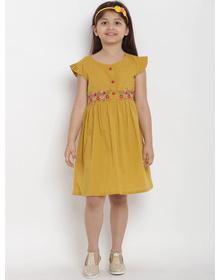 Bitiya by Bhama Girls Mustard Empire Dress