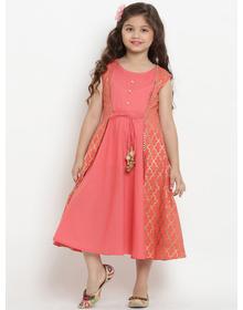 Bitiya by Bhama Girls Peach-Coloured Fit and Flare Dress