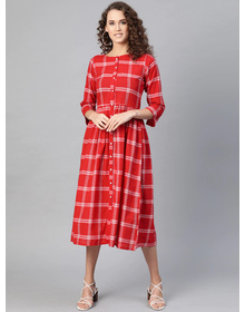 Bhama Couture Women Red Checked A-Line Dress