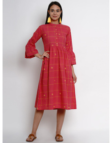 Bhama Couture Women Pink Checked Fit and Flare Dress