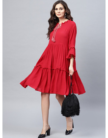 Bhama Couture Women Red Solid Tiered A-Line Dress