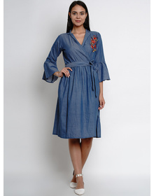 Bhama Couture Blue Wrap around Dress With Embroidery Detailing On Yoke