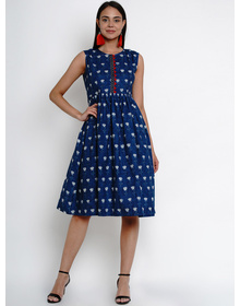 Bhama Couture Women Blue Floral Print Fit and Flare Dress