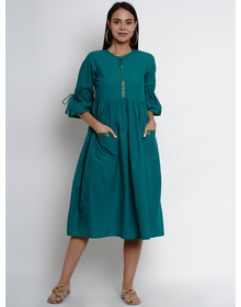 Bhama Couture Women Teal Green Solid Fit and Flare Dress