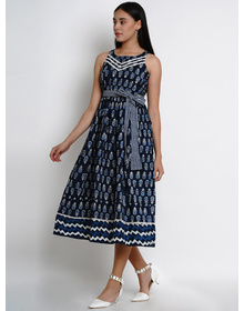 Bhama Couture Women Navy Blue & White Printed Fit and Flare Dress