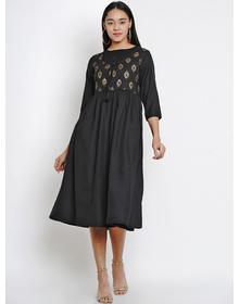Bhama Couture Women Black Printed A-Line Dress