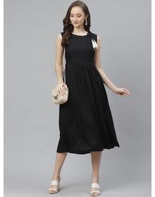 Bhama Couture Women Black Self Design A-Line Dress
