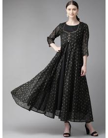 Bhama Couture Women Black & Golden Self Design Layered Maxi Dress