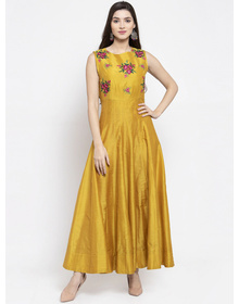 Bhama Couture Women Yellow Floral Printed Maxi Dress