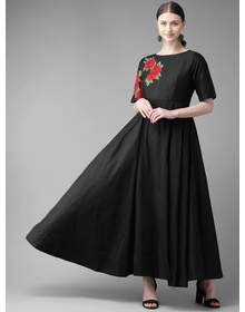 Bhama Couture Women Black Solid Maxi Dress