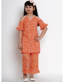 Bitiya by Bhama Girls Orange & White Dyed Kurta with Palazzos