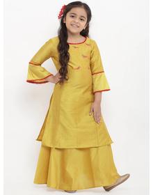 Bitiya by Bhama Girls Yellow Embroidered Kurti with Skirt