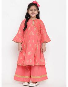 Bitiya by Bhama Girls Peach-Coloured Printed Kurta with Palazzos