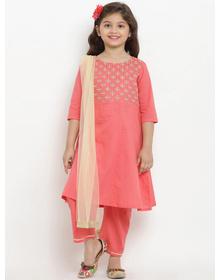 Bitiya by Bhama Girls Peach-Coloured Embroidered Kurta with Trousers & Dupatta