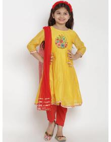 Bitiya by Bhama Girls Yellow & Red Embroidered Kurta with Pyjamas & Dupatta