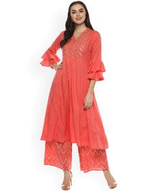 Bhama Couture Women Pink Yoke Design Kurta with Palazzos