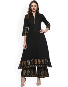 Bhama Couture Women Black & Gold-Toned Solid Kurta with Palazzos