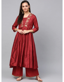 Bhama Couture Women Maroon & Gold-Toned Embroidered Kurta with Palazzos
